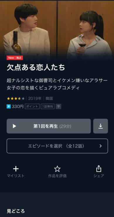 欠点ある恋人たち(韓国ドラマ)の動画無料視聴方法U-NEXT