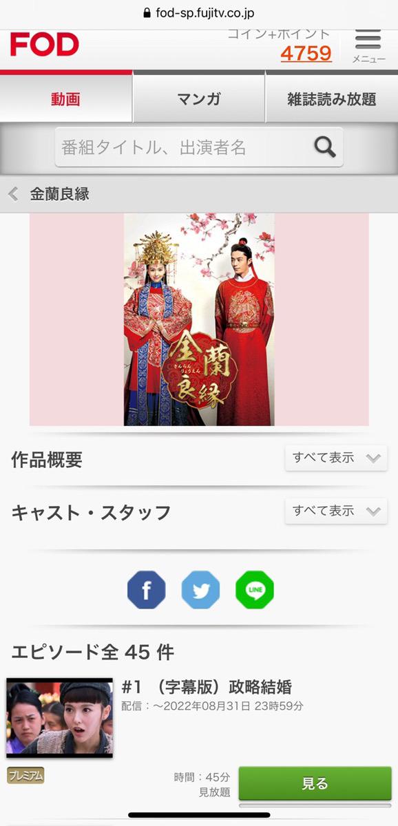 金蘭良縁(中国ドラマ)の動画無料視聴方法FOD