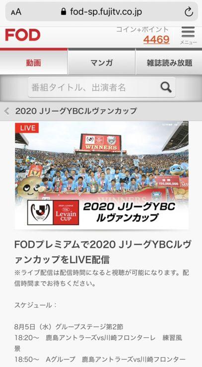 ルヴァンカップ2020準決勝のライブ生中継無料視聴方法